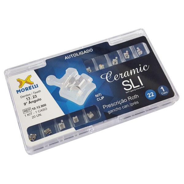 """Kit de Bráquetes Prescrição Roth - Ceramic SLI .022"""" - Can.9° Ang. - Gancho Can./Prés"""